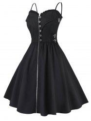 Plus Size Zippered Vintage Cami Fit And Flare Dress -