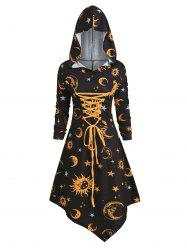 Skull Sun and Moon Lace Up Halloween Asymmetric Dress -