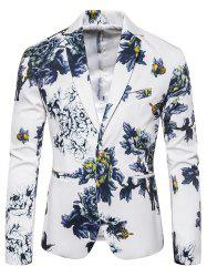 Flower Print Faux Pocket Casual Blazer -