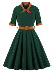 Bowknot Vintage Belted Fit and Flare Dress -