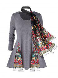 Plus Size Mesh Insert Space Dye T Shirt And Embroidery Scarf -