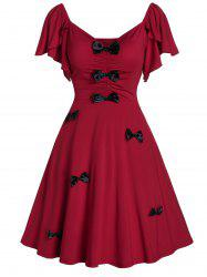 Bowknot A Line Sweetheart Neck Dress -
