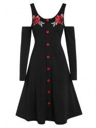 Cold Shoulder Buttons Embroidered A Line Dress -