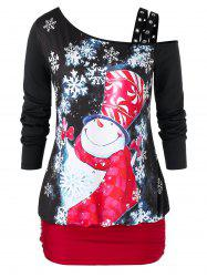Plus Size Ruched Snowman Print Christmas Long Sleeve T Shirt -
