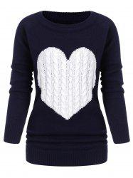 Heart Graphic Cable Knit Crew Neck Sweater -
