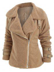 Faux Fur Buckle Embellished Casual Coat -