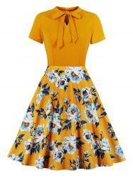 Floral Pussy Bow Fit and Flare Dress -