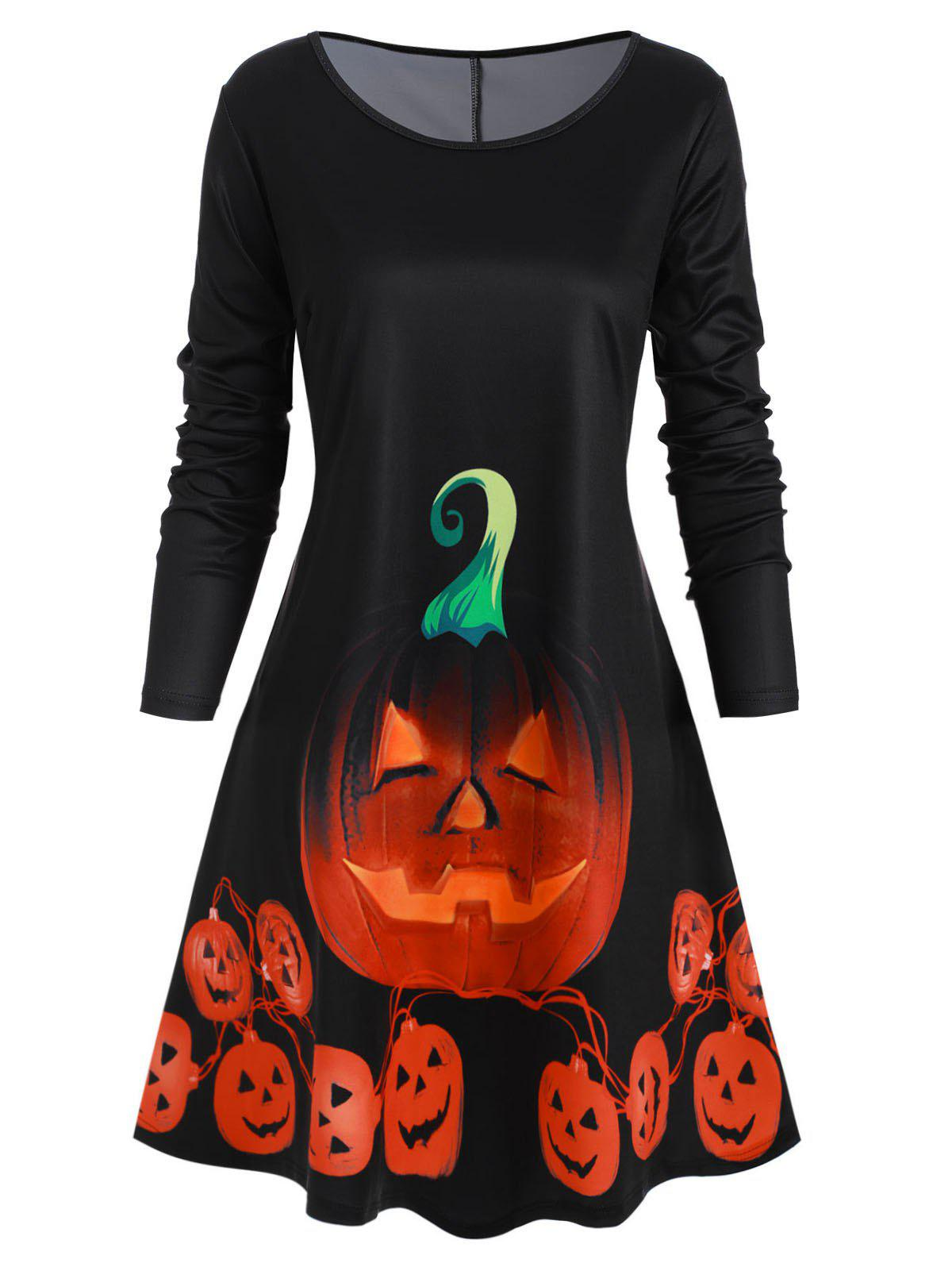 Long Sleeve Pumpkin Halloween Plus Size Mini Dress фото