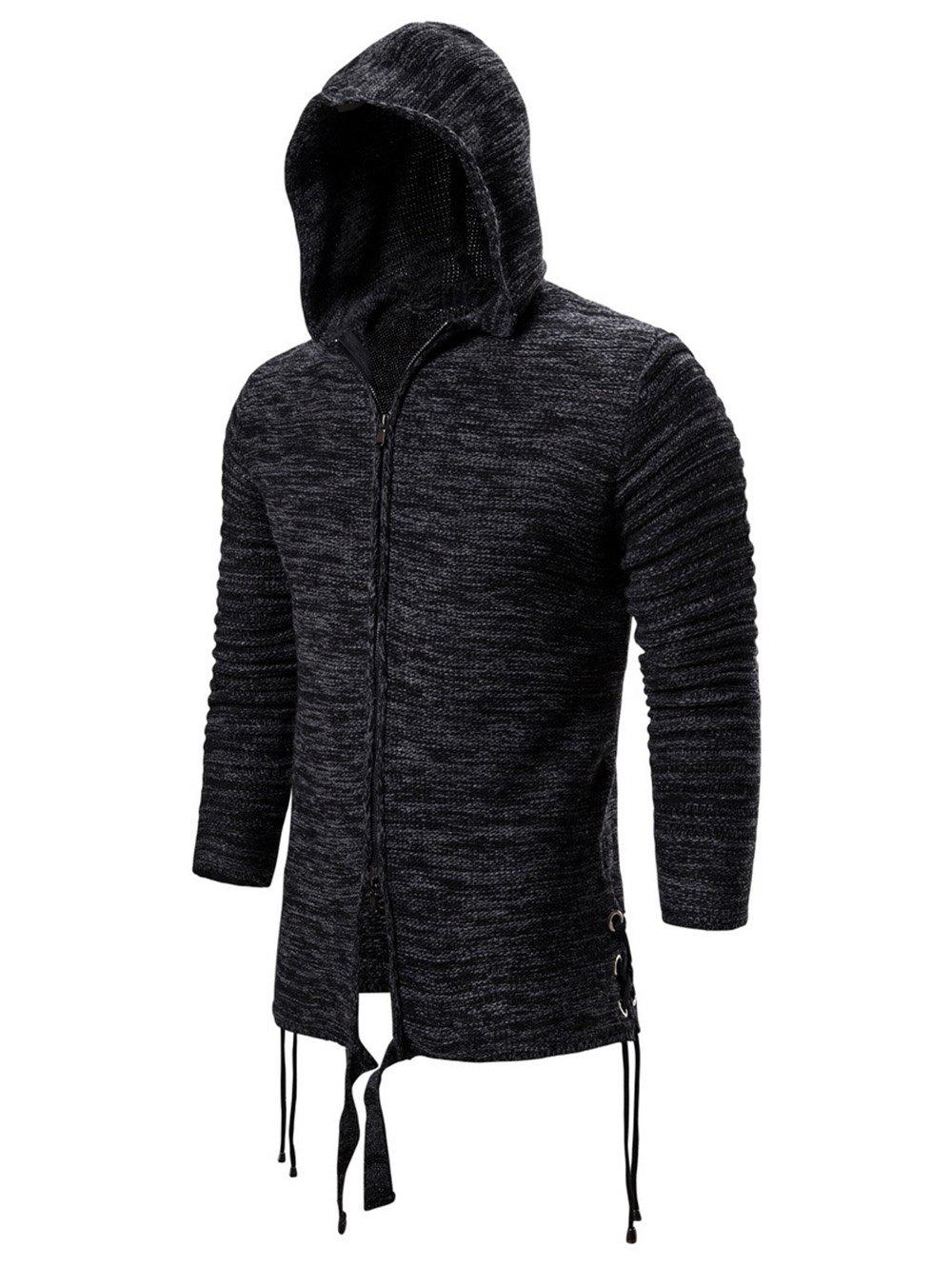 Unique Solid Color Zip Up Hooded Cardigan
