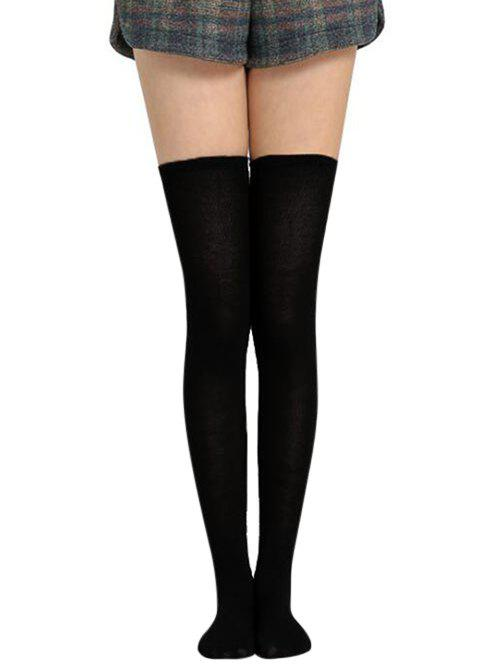 Online Solid Color Thigh High Socks