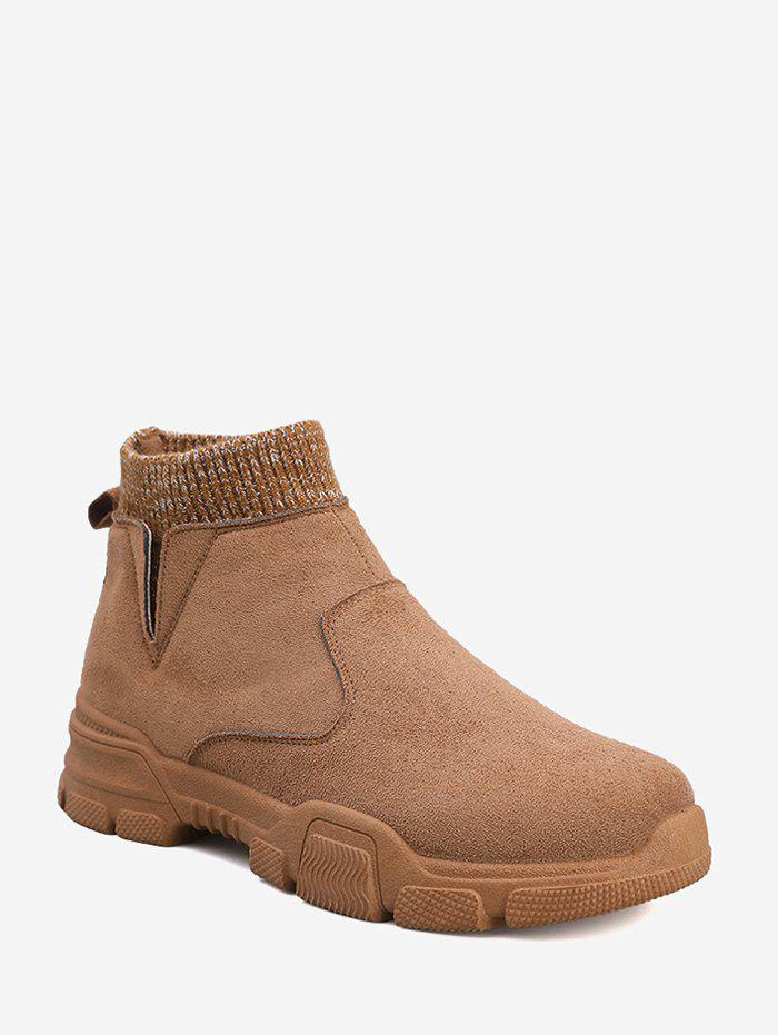 Discount Faux Suede Patch Sock Ankle Boots