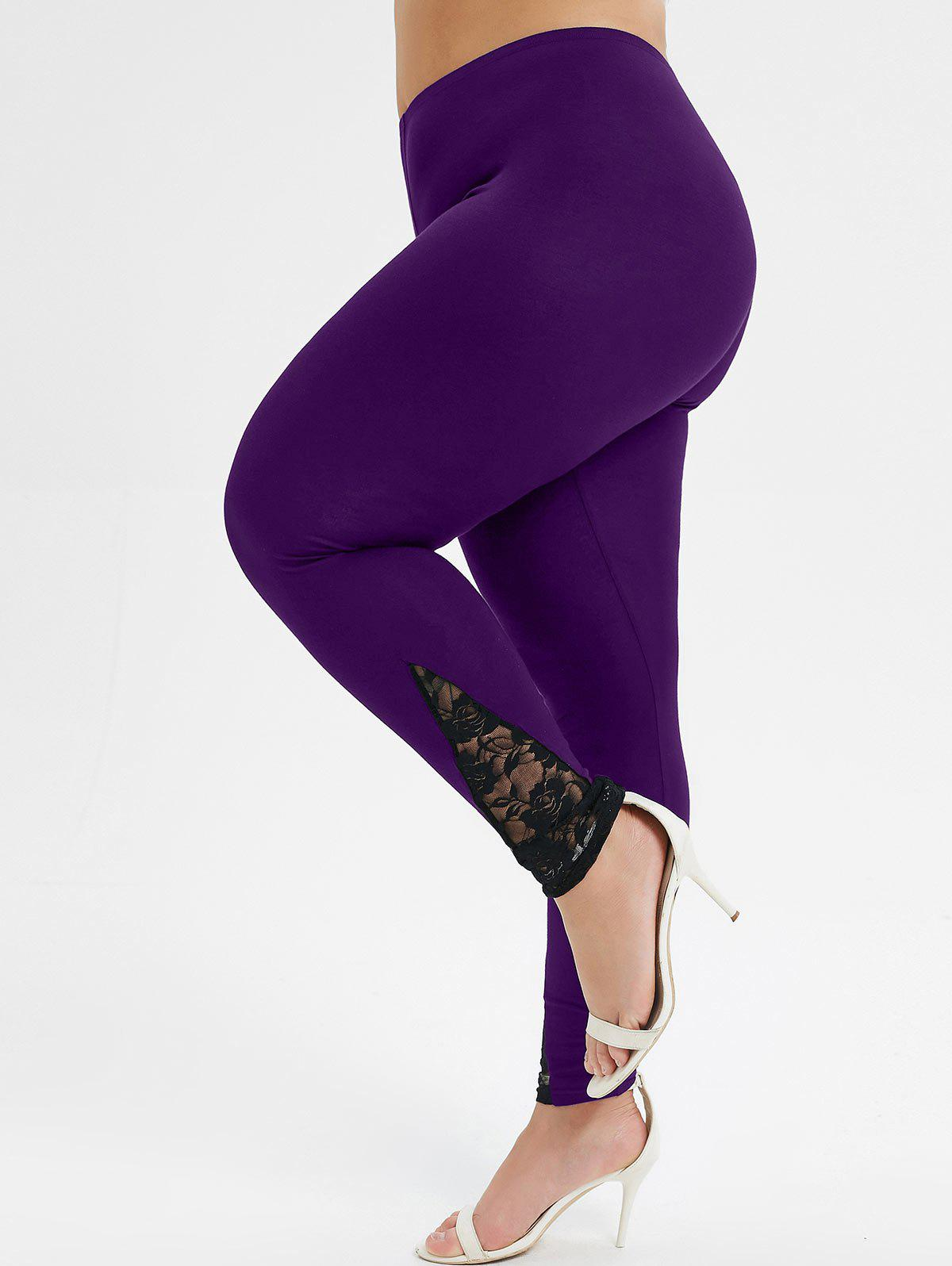 Outfits Plus Size Lace Panel Sheer High Waisted Leggings