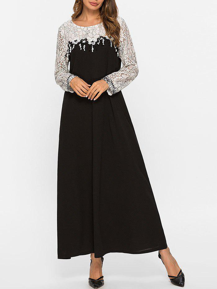 Outfit Lace Yoke Long Sleeve Maxi Dress