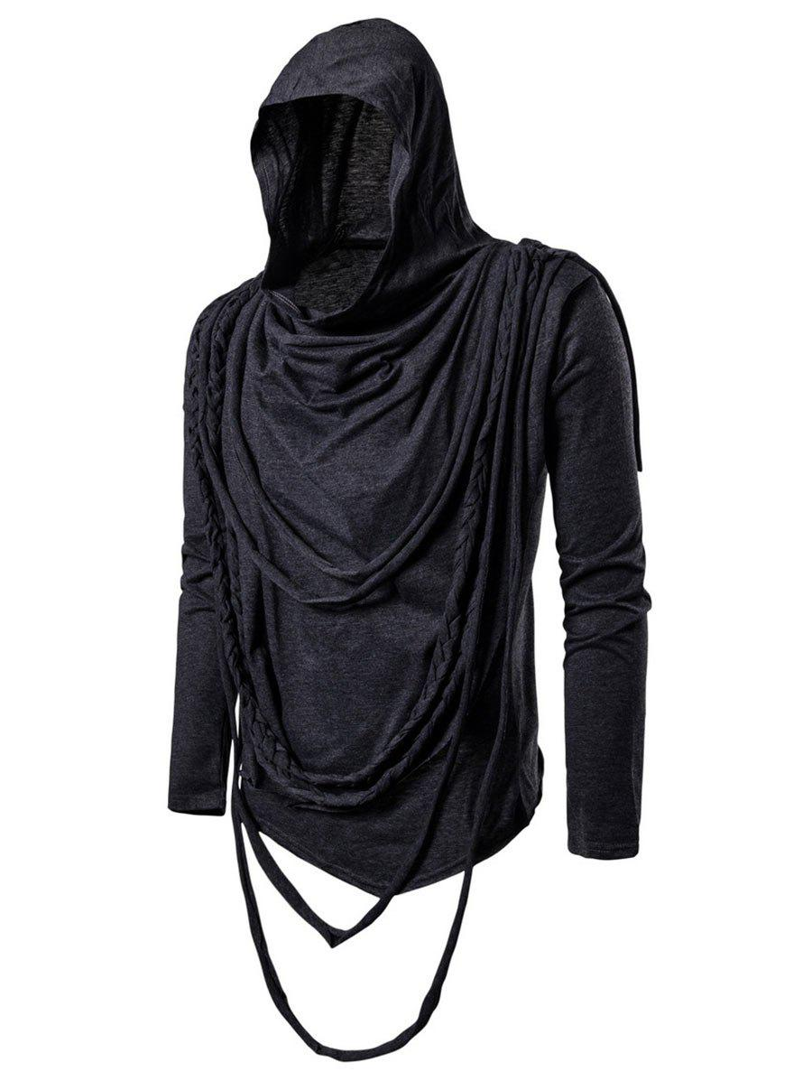 Sale Solid Color Braided Rope Decoration Hoodie