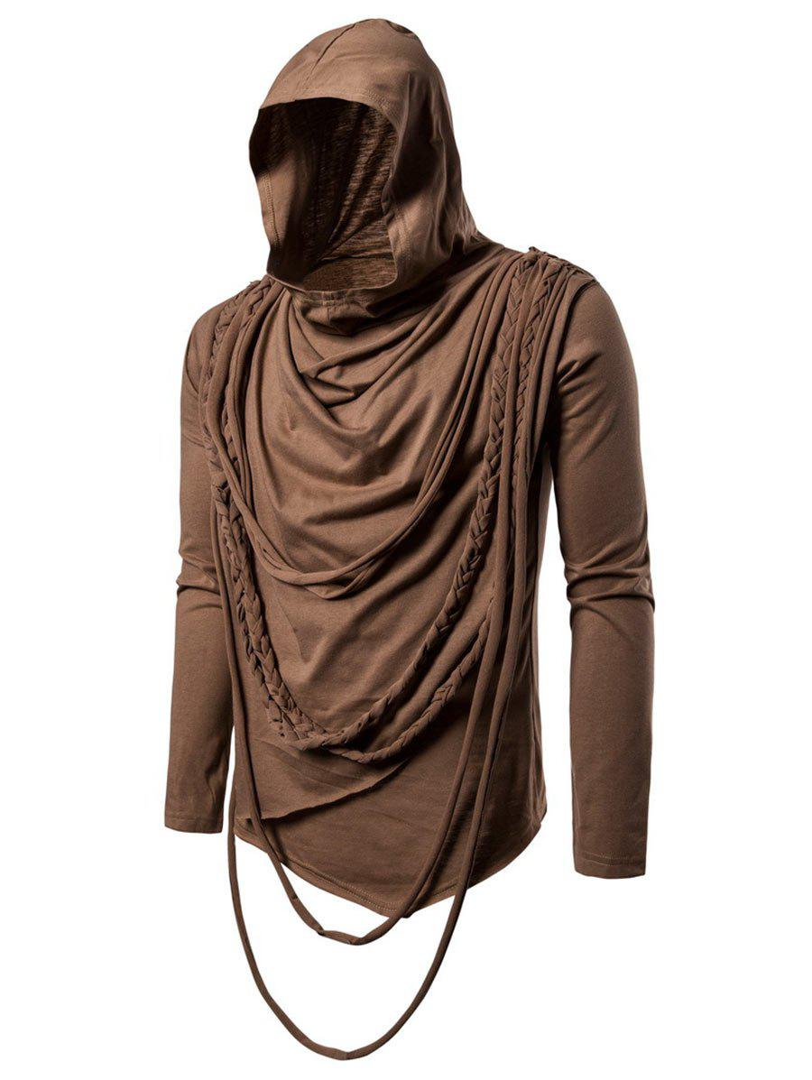 Affordable Solid Color Braided Rope Decoration Hoodie