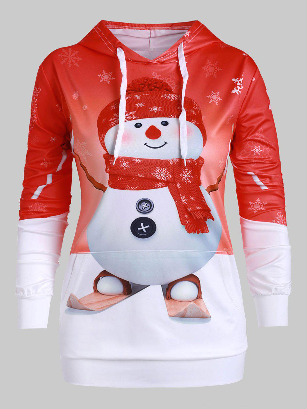 Trendy Plus Size Snowman Print Front Pocket Christmas Hoodie