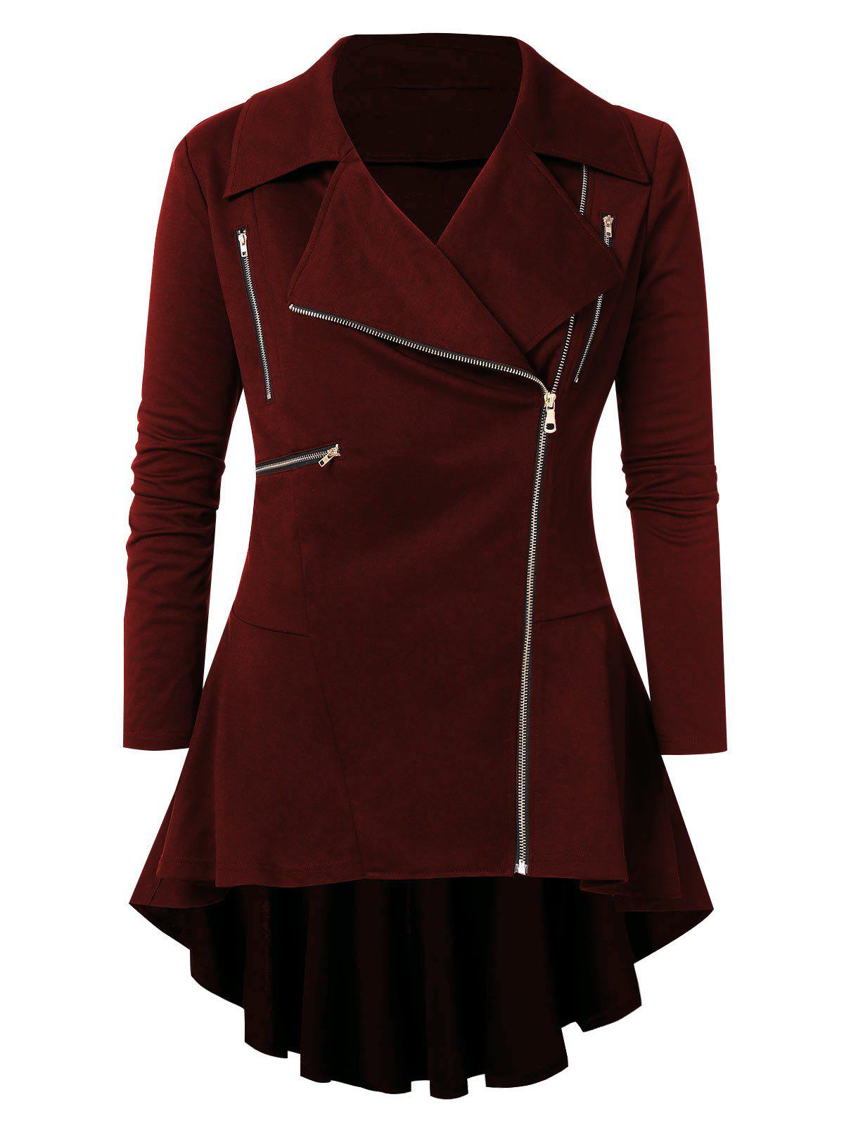 Plus Size Zipper Embellished High Low Coat, Red wine