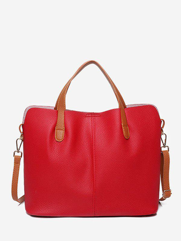 Online Contrast Trim Faux Leather Crossbody Bag