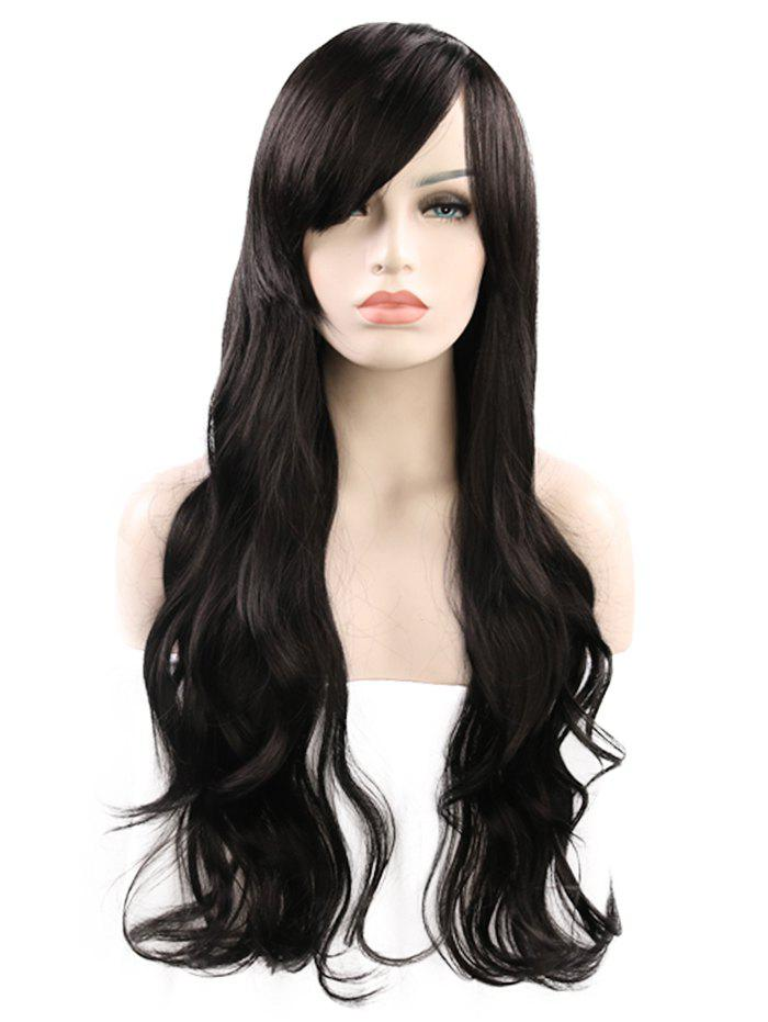 Trendy Long Inclined Fringe Wavy Cosplay Synthetic Wig