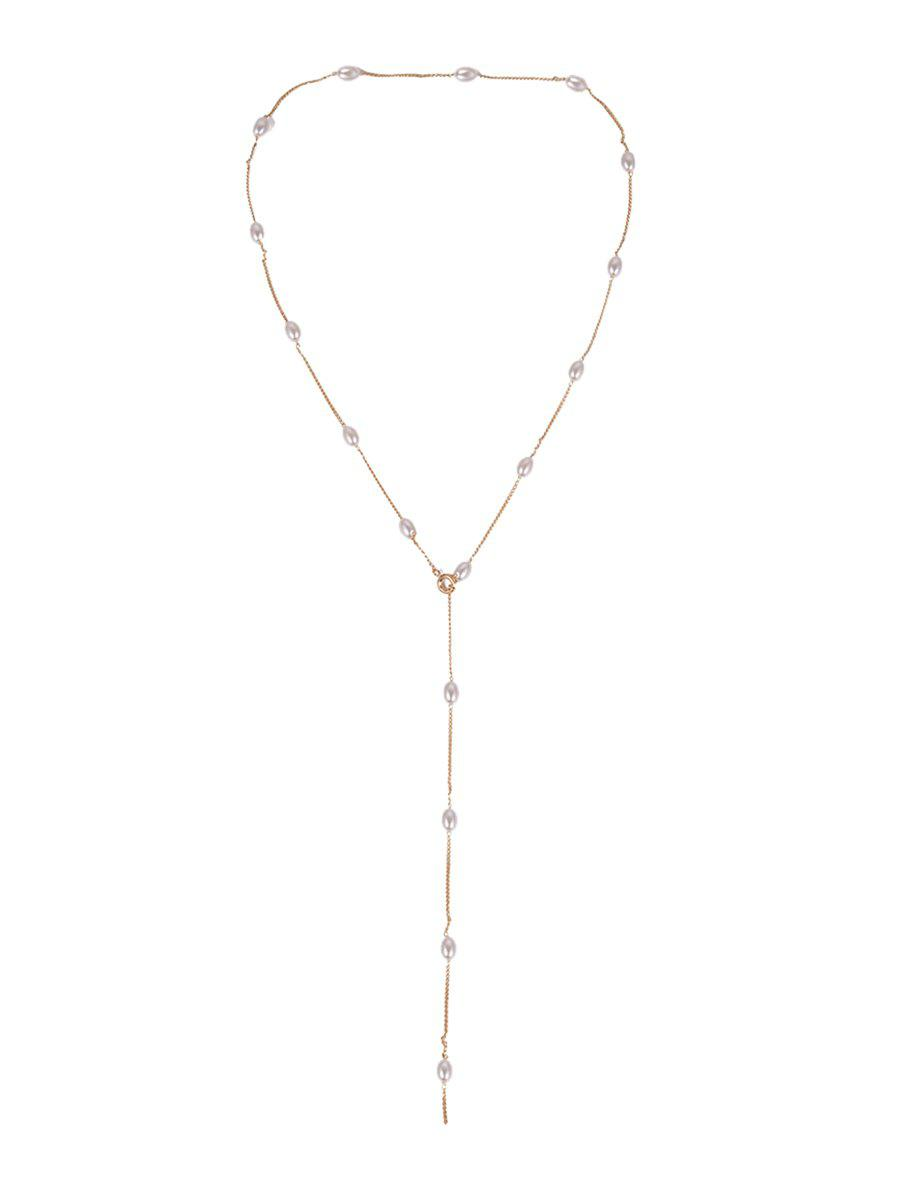 Store Simple Pearl Y Shape Chain Necklace