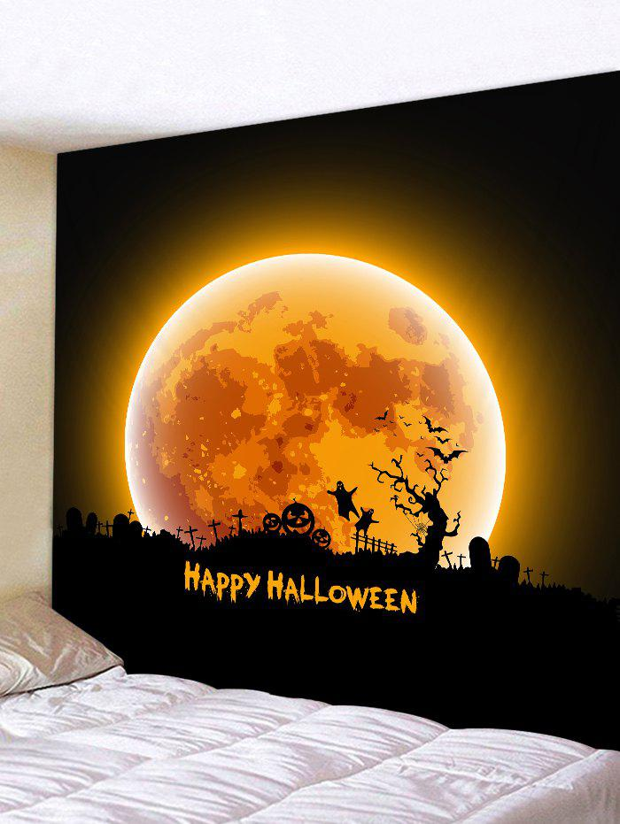 Best Halloween Moon Night Cemetery Print Tapestry Wall Hanging Art Decoration