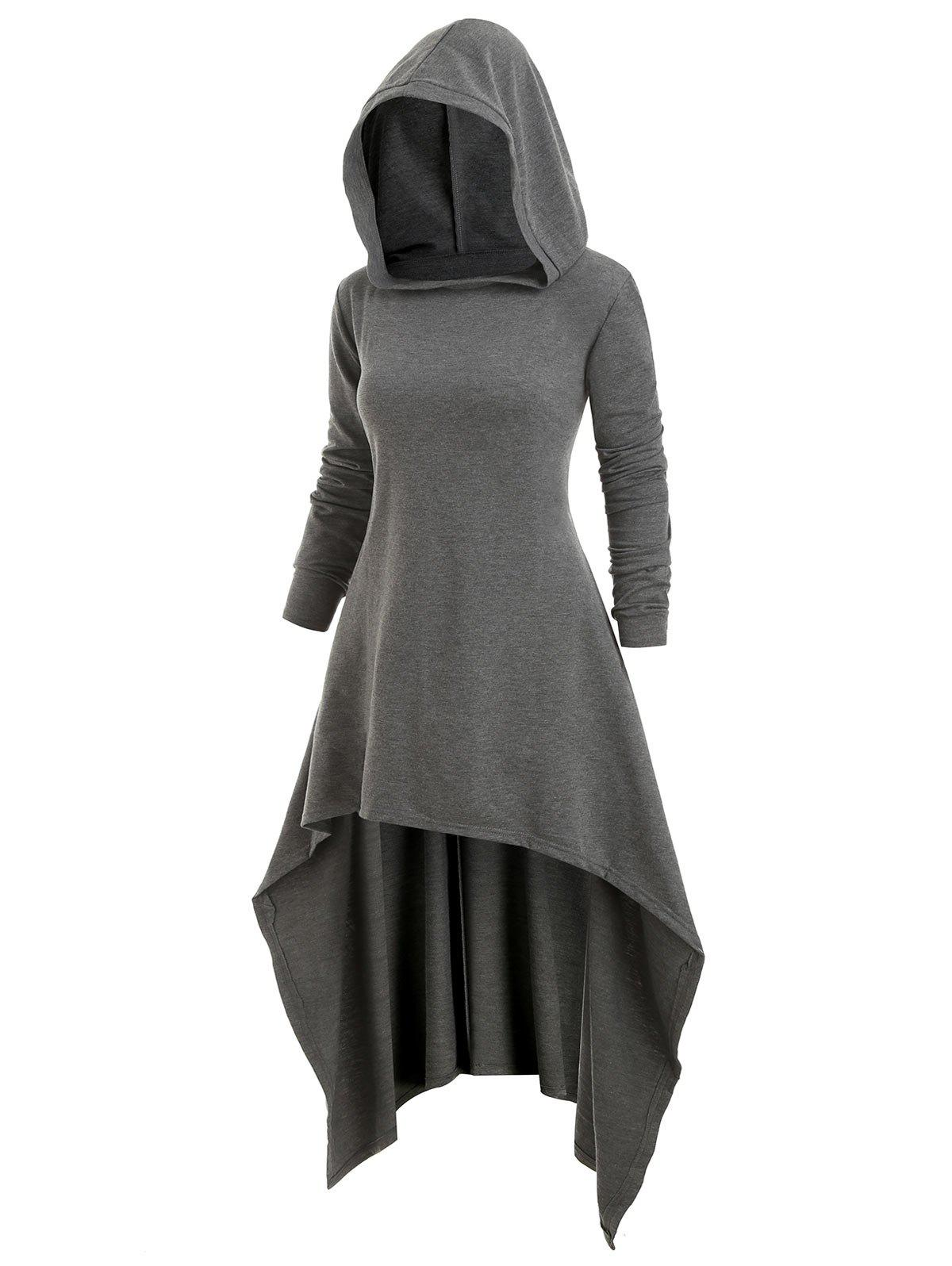 Affordable Plus Size High Low Longline Hoodie