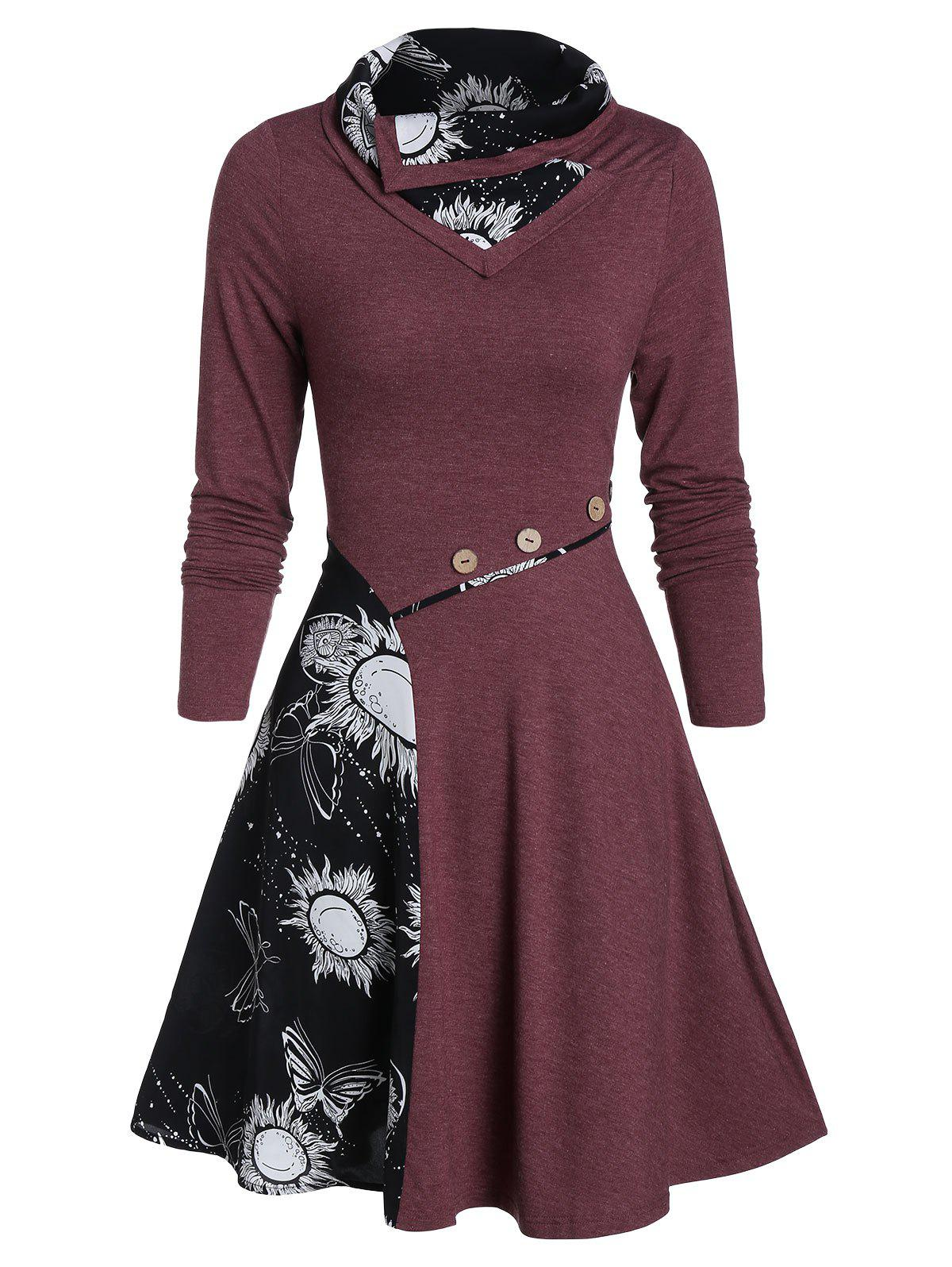 Cheap Turn-down Fit And Flare Butterfly Print Dress