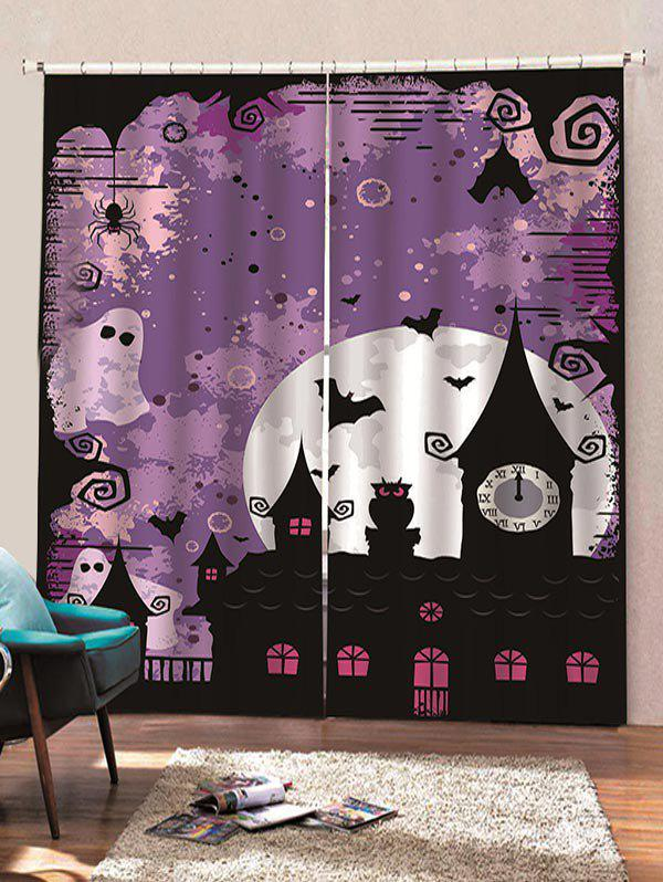 Trendy 2 Panels Halloween Moon Night Castle Print Window Curtains