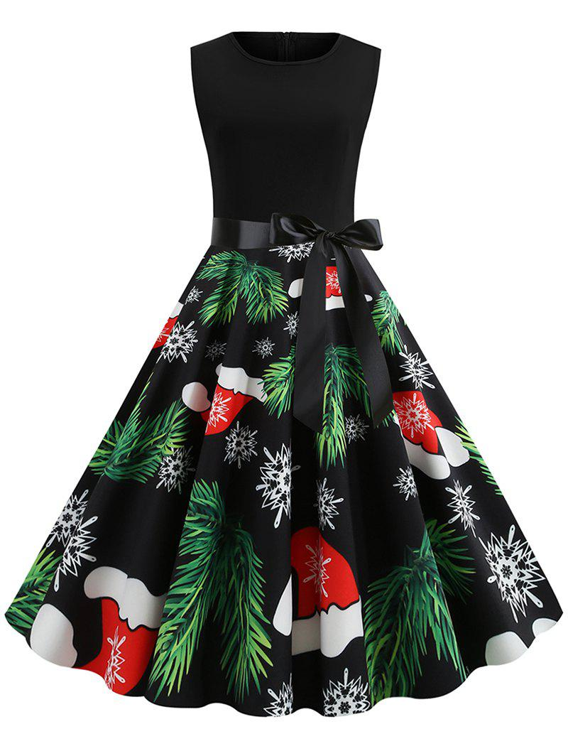 New Christmas Tree Hat Snaowflake Print Sleeveless Dress