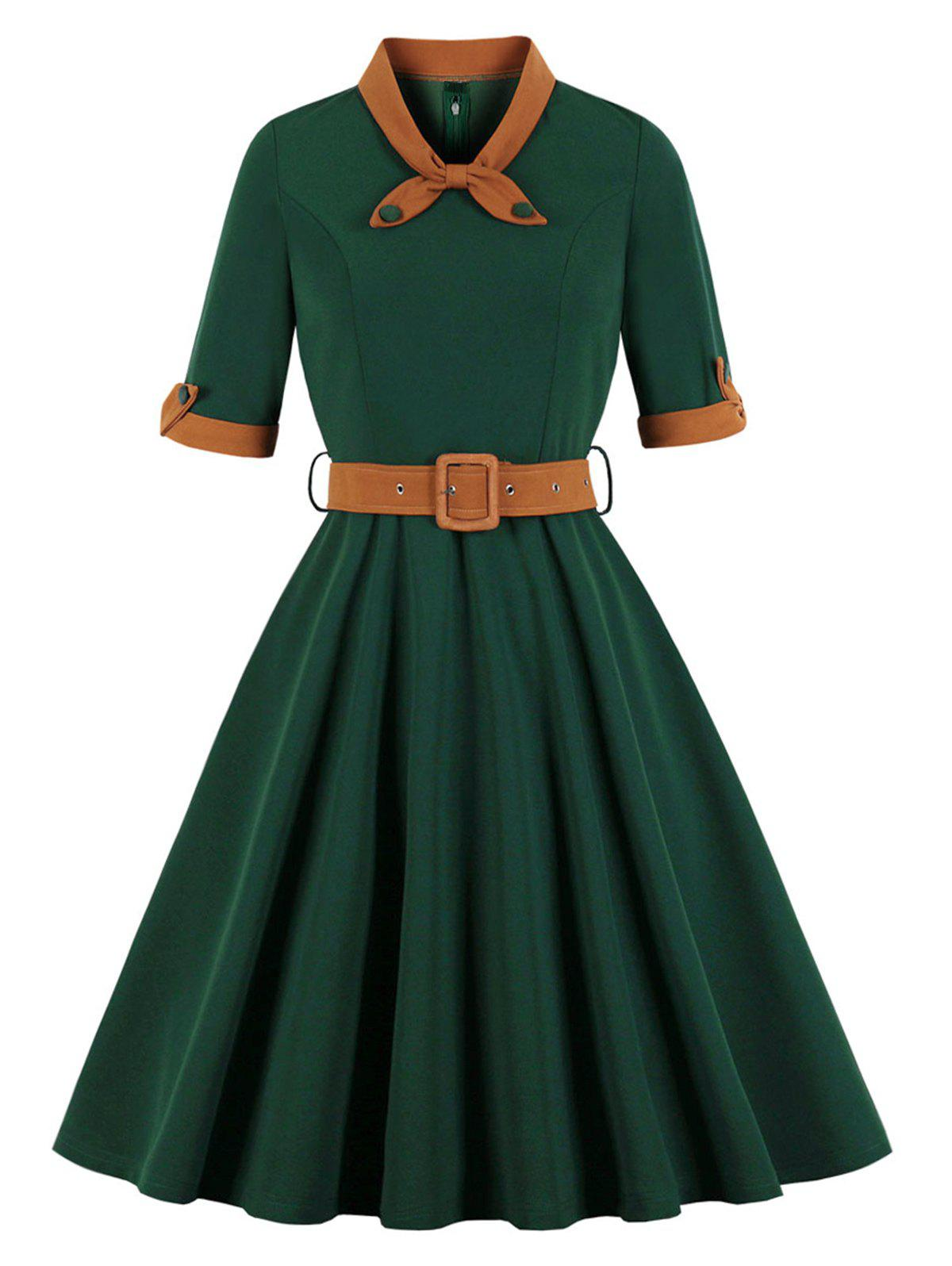 Buy Bowknot Vintage Belted Fit and Flare Dress