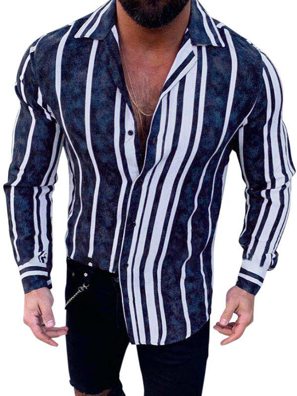 Unique Stripes Print Long Sleeve Button Casual Shirt