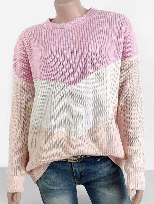 Outfits Colorblock Crew Neck Loose Sweater