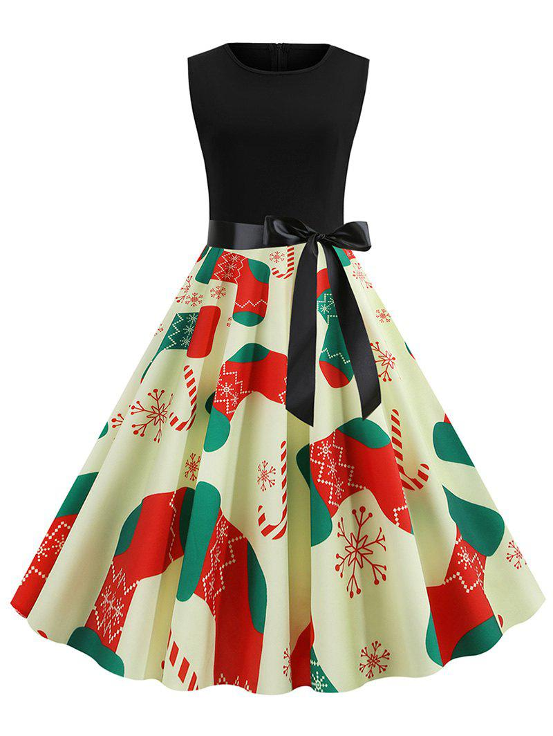 Hot Christmas Stockings Print Sleeveless Dress