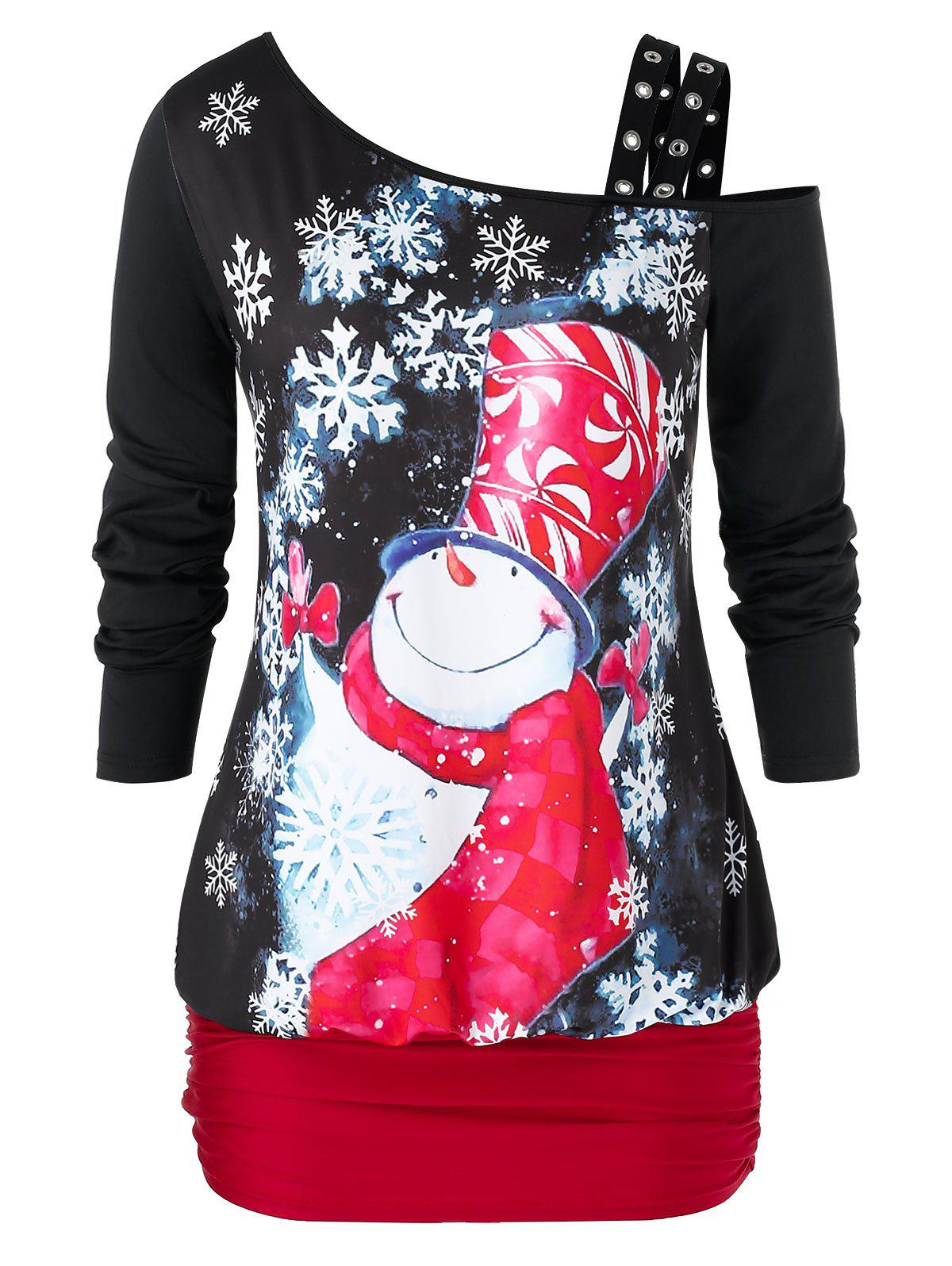 New Plus Size Ruched Snowman Print Christmas Long Sleeve T Shirt