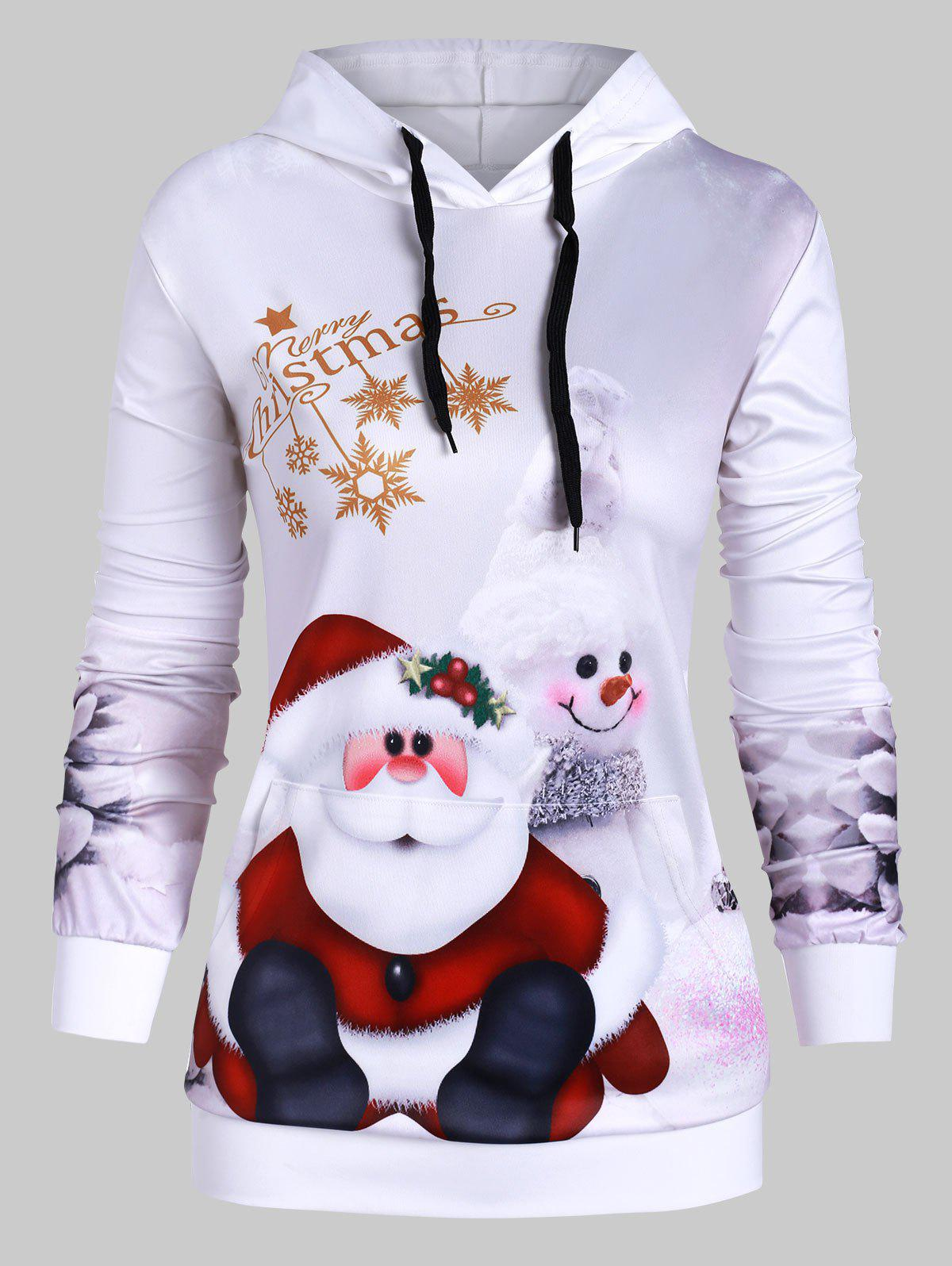 Outfits Plus Size Santa Claus Print Front Pocket Christmas Hoodie
