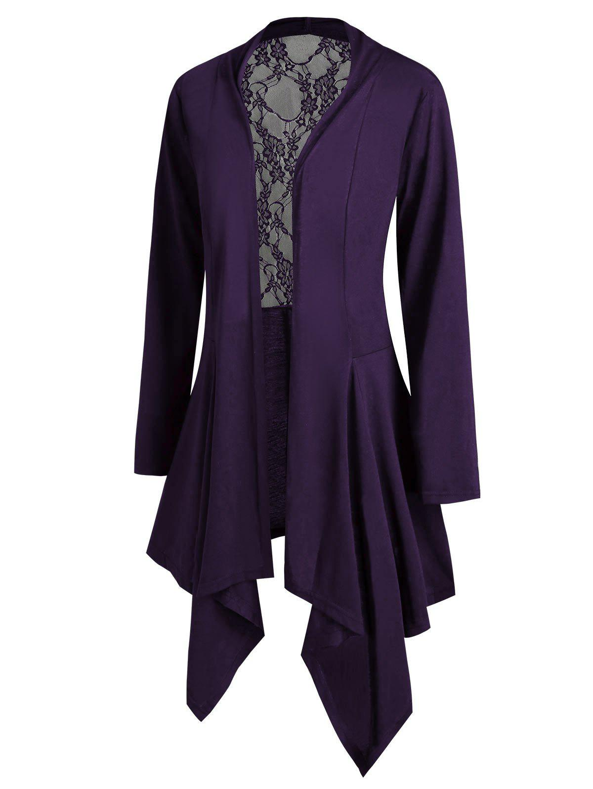 Chic Handkerchief Lace Panel Open Front Plus Size Cardigan