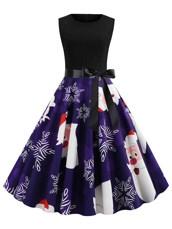 Fashion Christmas Snowflake Santa Claus Print Fit and Flare Dress