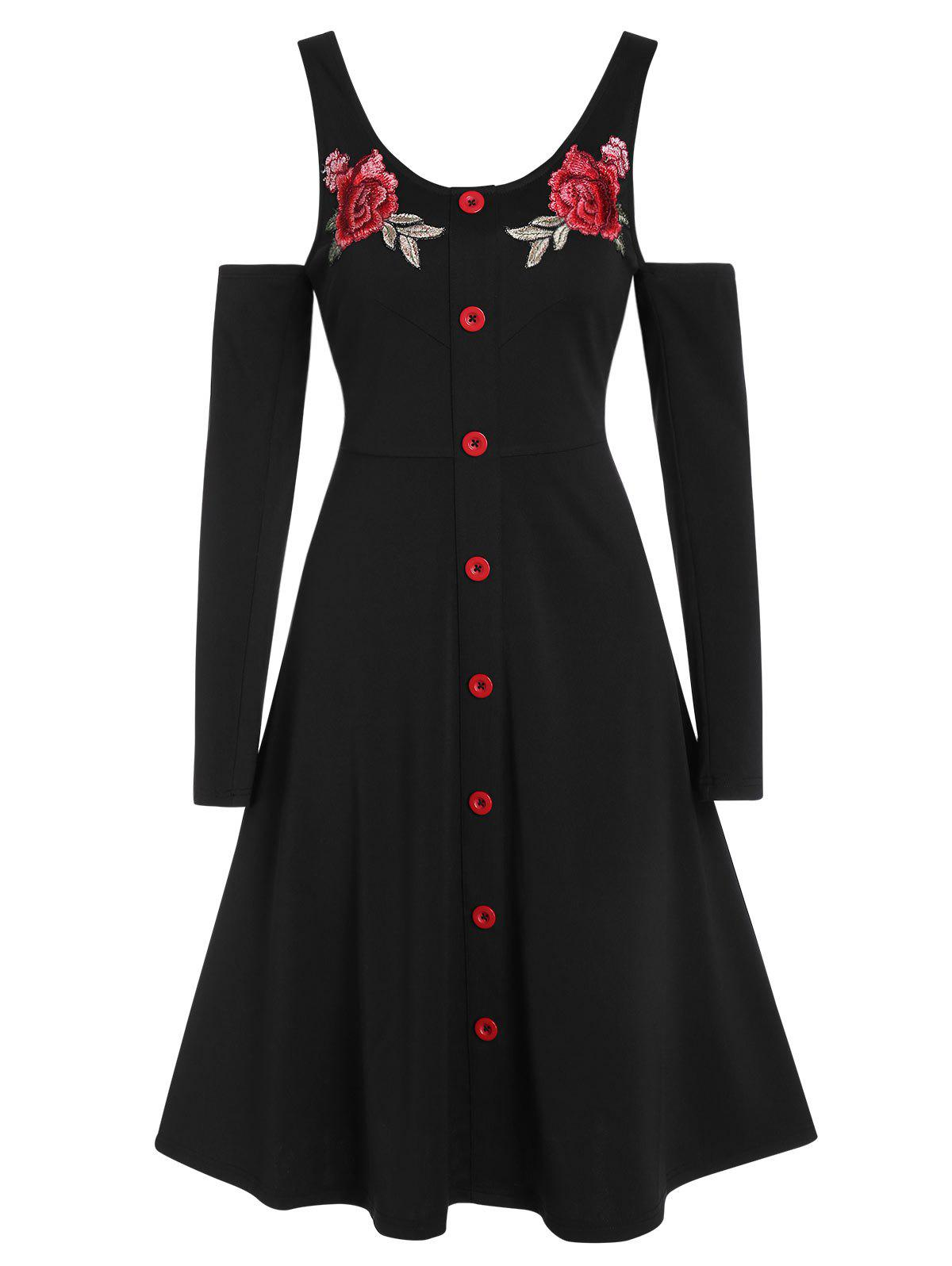 Outfit Cold Shoulder Buttons Embroidered A Line Dress