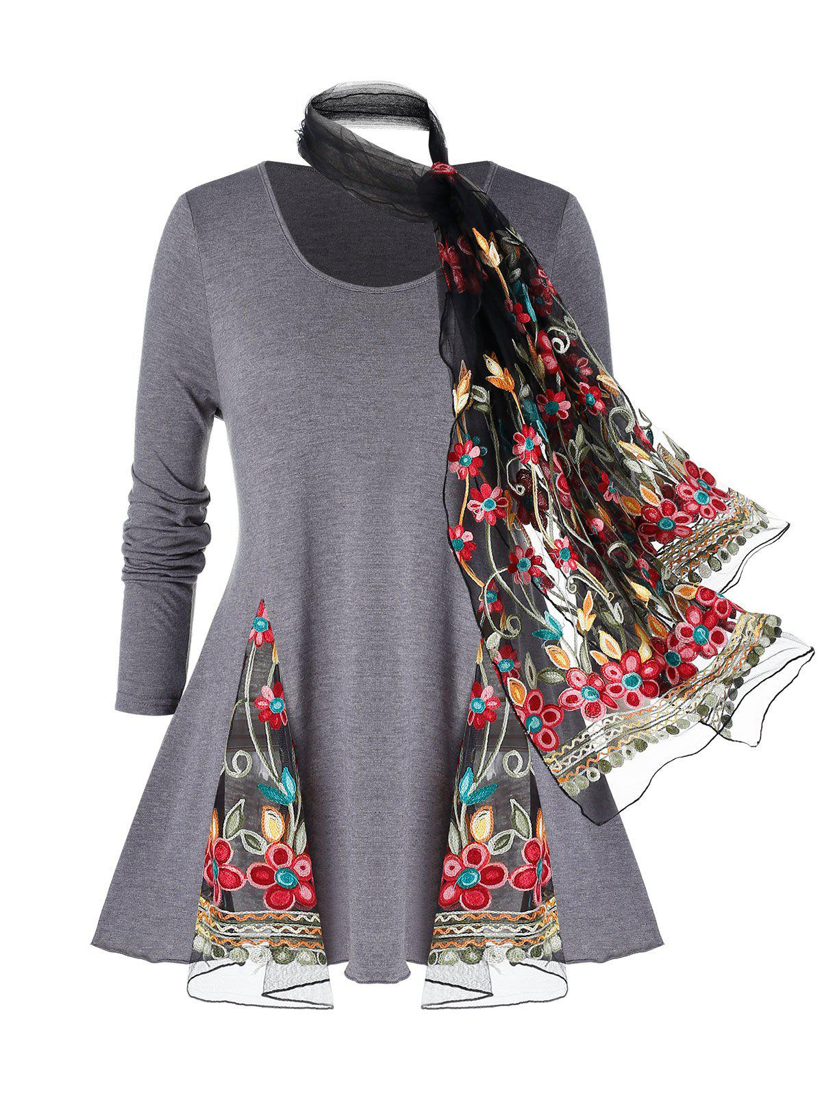 Trendy Plus Size Mesh Insert Space Dye T Shirt And Embroidery Scarf