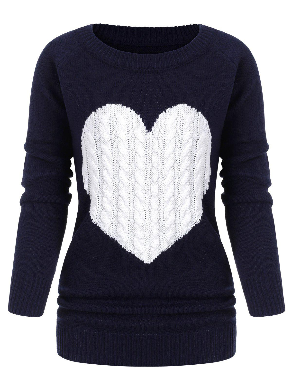Outfit Heart Graphic Cable Knit Crew Neck Sweater