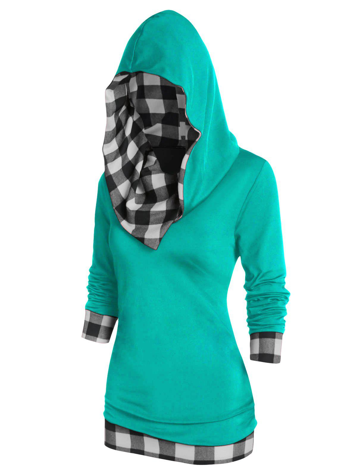 Unique Plaid Panel Hooded Tunic T Shirt
