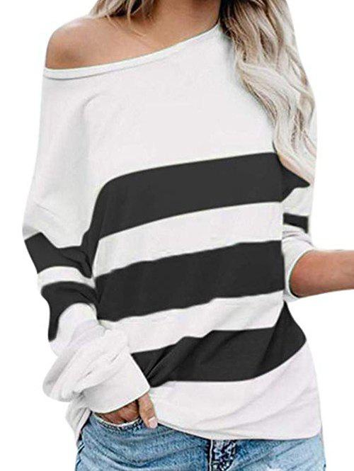 Store Skew Collar Colorblock Long Sleeve Top