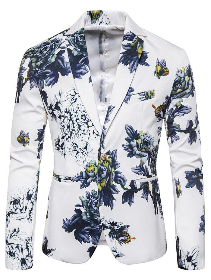Trendy Flower Print Faux Pocket Casual Blazer