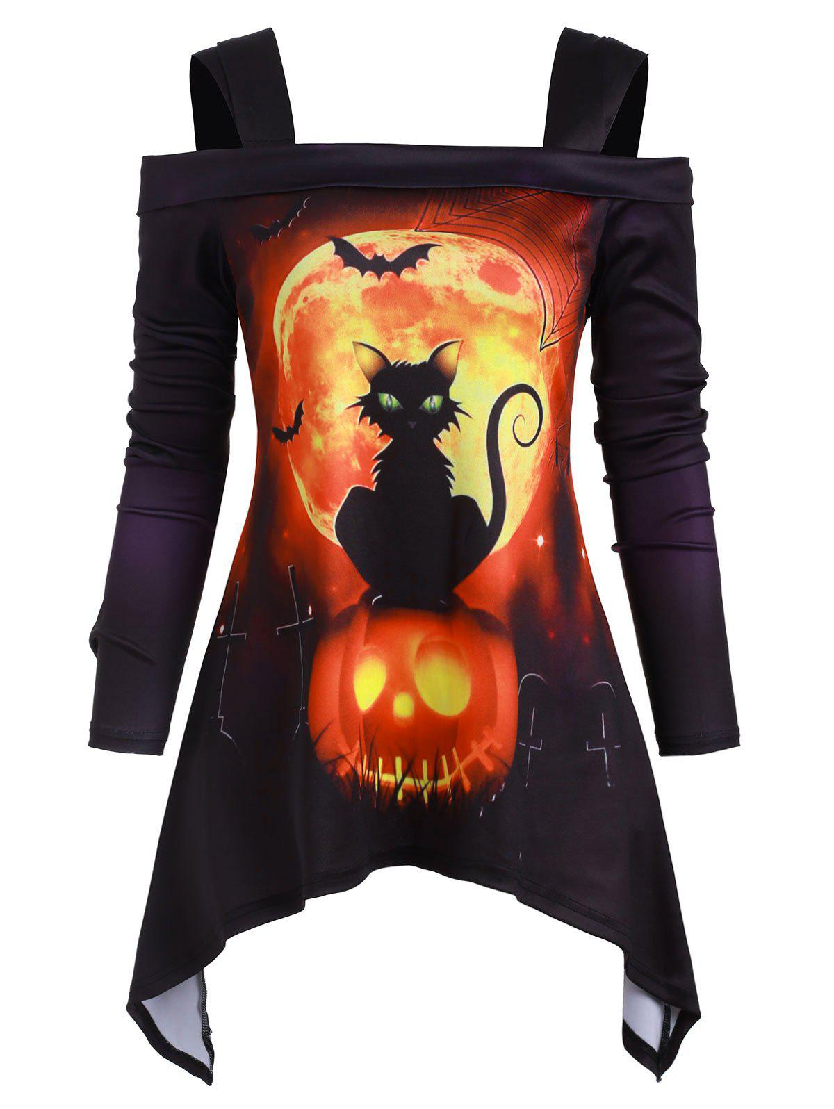 Online Halloween Cat Pumpkin Open Shoulder Asymmetrical T-shirt