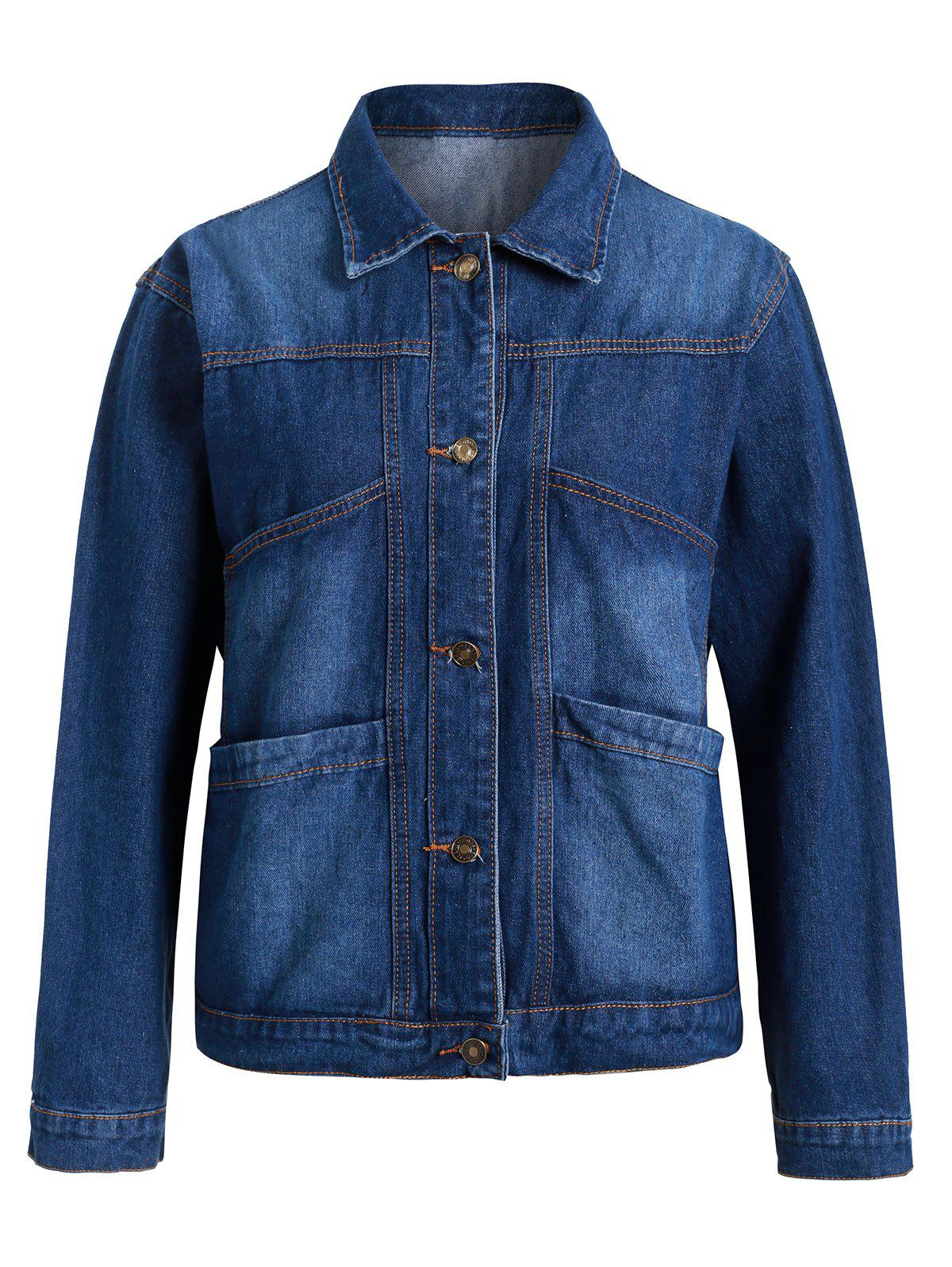 Sale Plus Size Pockets Denim Jacket