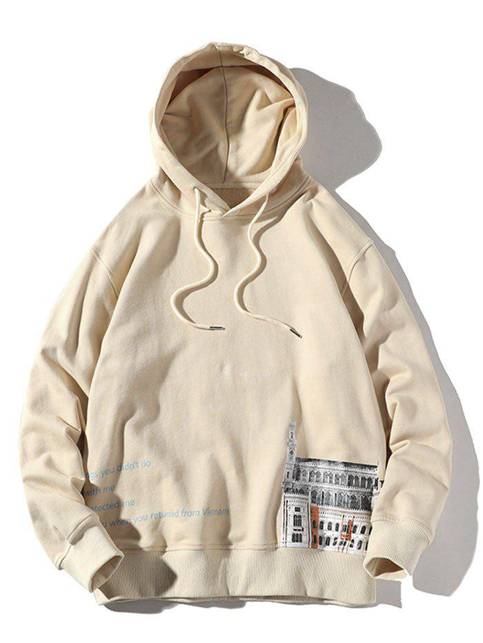 Shops Plus Size Letters and Building Print Drawstring Hoodie