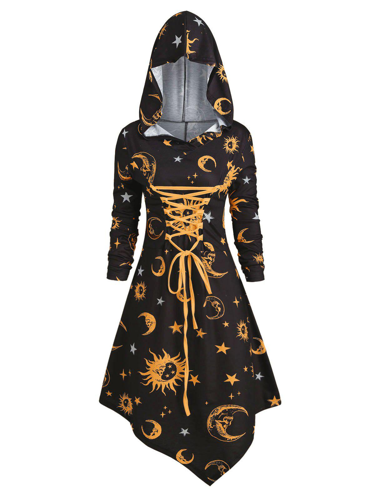 Fancy Skull Sun and Moon Lace Up Halloween Asymmetric Dress