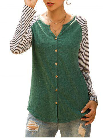 Raglan Sleeve Striped Button Up Top