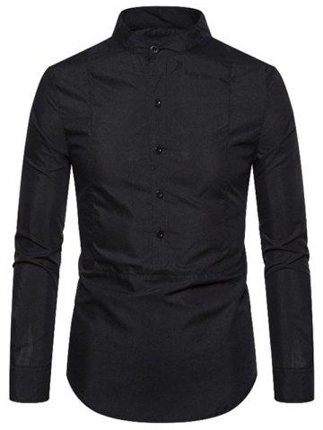 Plain Stand Collar Front Button Pullover Shirt