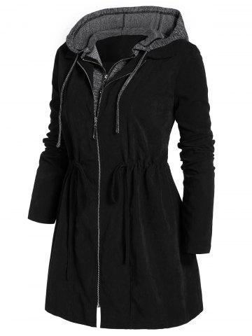Plus Size Marled Panel Hooded Tunic Coat - BLACK - 1X